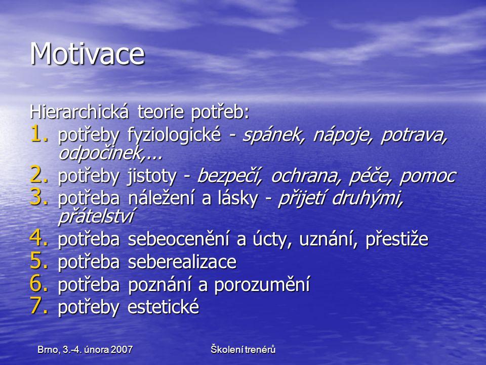 Školení trenérůBrno, 3.-4.února 2007 Motivace Hierarchická teorie potřeb: 1.