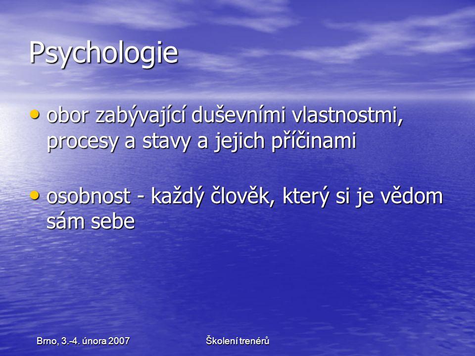 Školení trenérůBrno, 3.-4. února 2007 Psychologie obor zabývající duševními vlastnostmi, procesy a stavy a jejich příčinami obor zabývající duševními