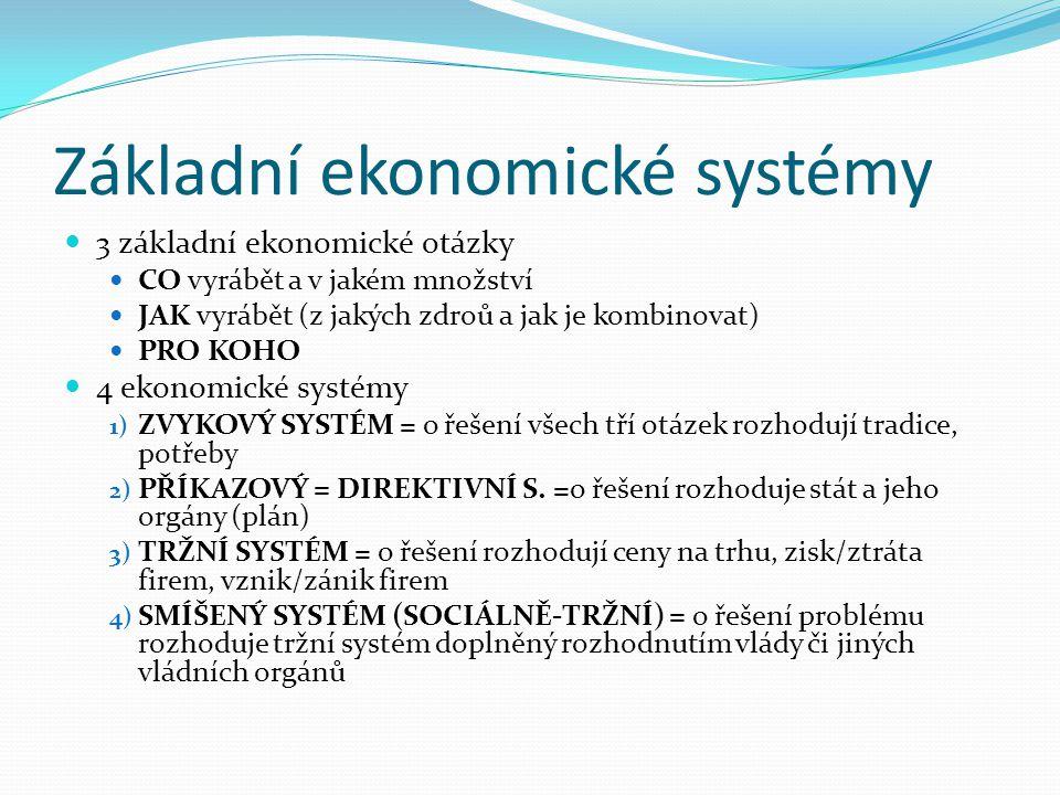 Základní ekonomické systémy 3 základní ekonomické otázky CO vyrábět a v jakém množství JAK vyrábět (z jakých zdroů a jak je kombinovat) PRO KOHO 4 eko
