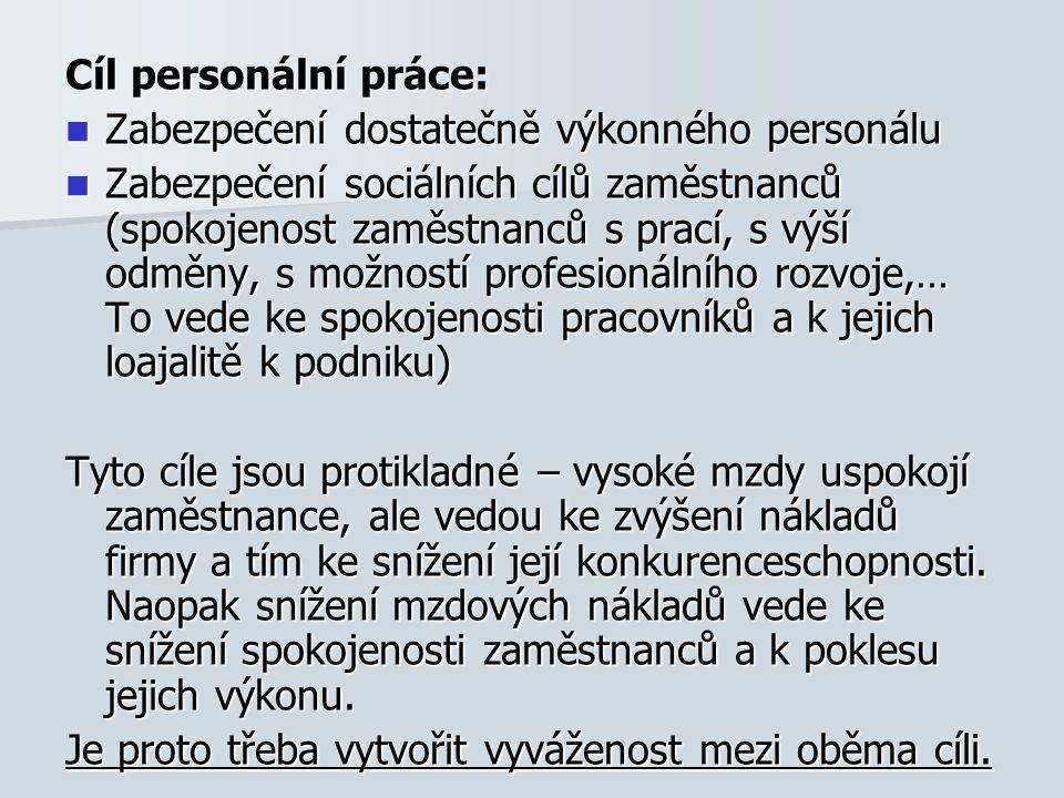 Cíl personální práce: Zabezpečení dostatečně výkonného personálu Zabezpečení dostatečně výkonného personálu Zabezpečení sociálních cílů zaměstnanců (s