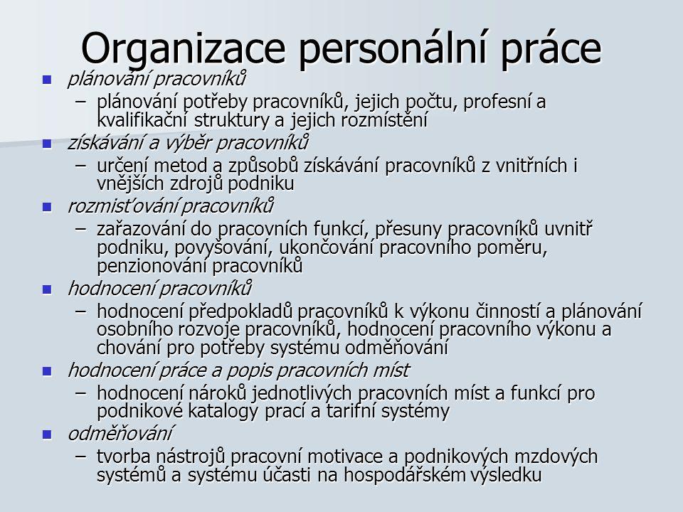 Organizace personální práce plánování pracovníků plánování pracovníků –plánování potřeby pracovníků, jejich počtu, profesní a kvalifikační struktury a