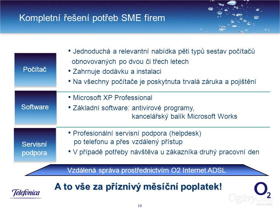 10 Kompletní řešení potřeb SME firem Jednoduchá a relevantní nabídka pěti typů sestav počítačů obnovovaných po dvou či třech letech Zahrnuje dodávku a