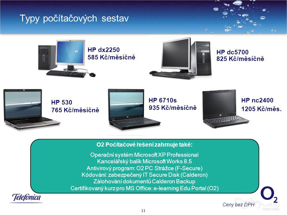 11 Typy počítačových sestav HP dx2250 HP dc5700 HP 530 585 Kč/měsíčně 825 Kč/měsíčně O2 Počítačové řešení zahrnuje také: Operační systém Microsoft XP