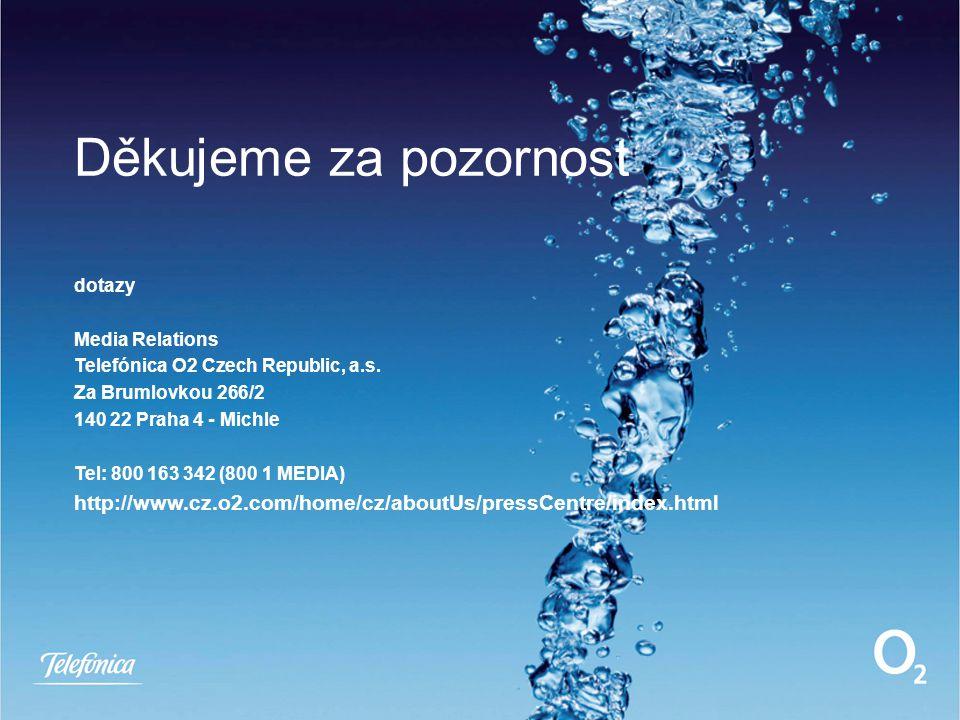 Děkujeme za pozornost dotazy Media Relations Telefónica O2 Czech Republic, a.s. Za Brumlovkou 266/2 140 22 Praha 4 - Michle Tel: 800 163 342 (800 1 ME