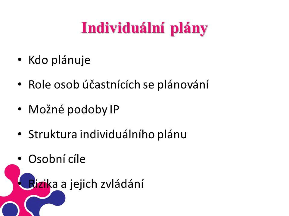 Individuální plány Kdo plánuje Role osob účastnících se plánování Možné podoby IP Struktura individuálního plánu Osobní cíle Rizika a jejich zvládání