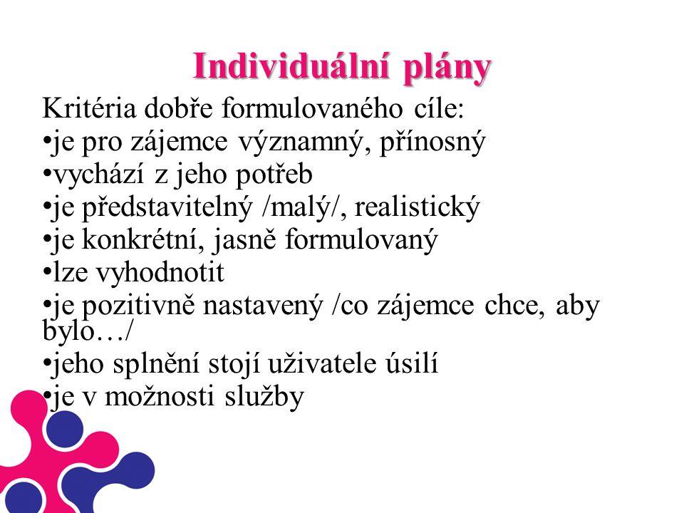 Individuální plány Kritéria dobře formulovaného cíle: je pro zájemce významný, přínosný vychází z jeho potřeb je představitelný /malý/, realistický je