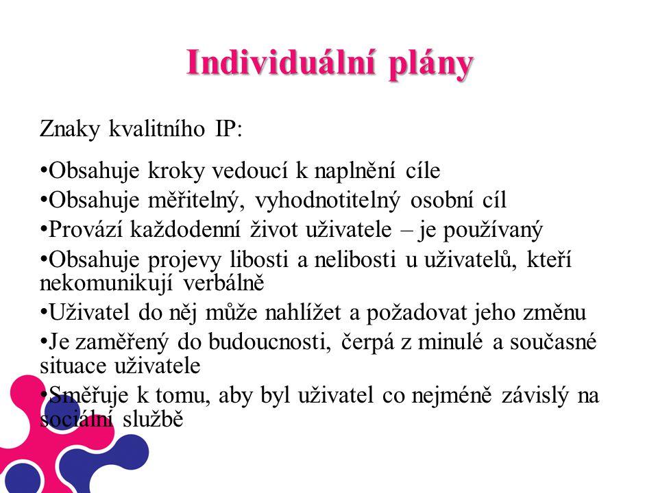 Individuální plány Znaky kvalitního IP: Obsahuje kroky vedoucí k naplnění cíle Obsahuje měřitelný, vyhodnotitelný osobní cíl Provází každodenní život