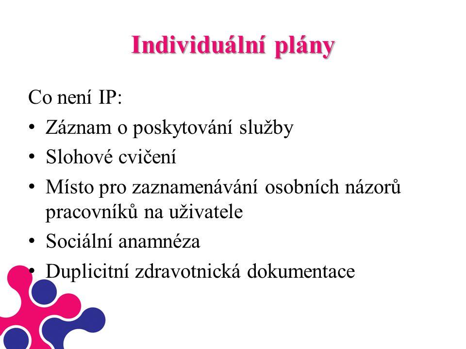 Individuální plány Co není IP: Záznam o poskytování služby Slohové cvičení Místo pro zaznamenávání osobních názorů pracovníků na uživatele Sociální an