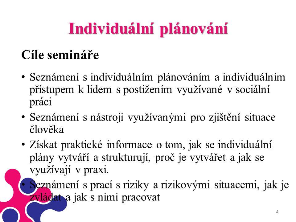 Individuální plánování Cíle semináře Seznámení s individuálním plánováním a individuálním přístupem k lidem s postižením využívané v sociální práci Se