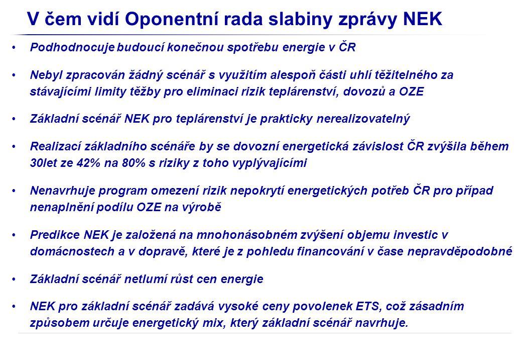 V čem vidí Oponentní rada slabiny zprávy NEK Podhodnocuje budoucí konečnou spotřebu energie v ČR Nebyl zpracován žádný scénář s využitím alespoň části