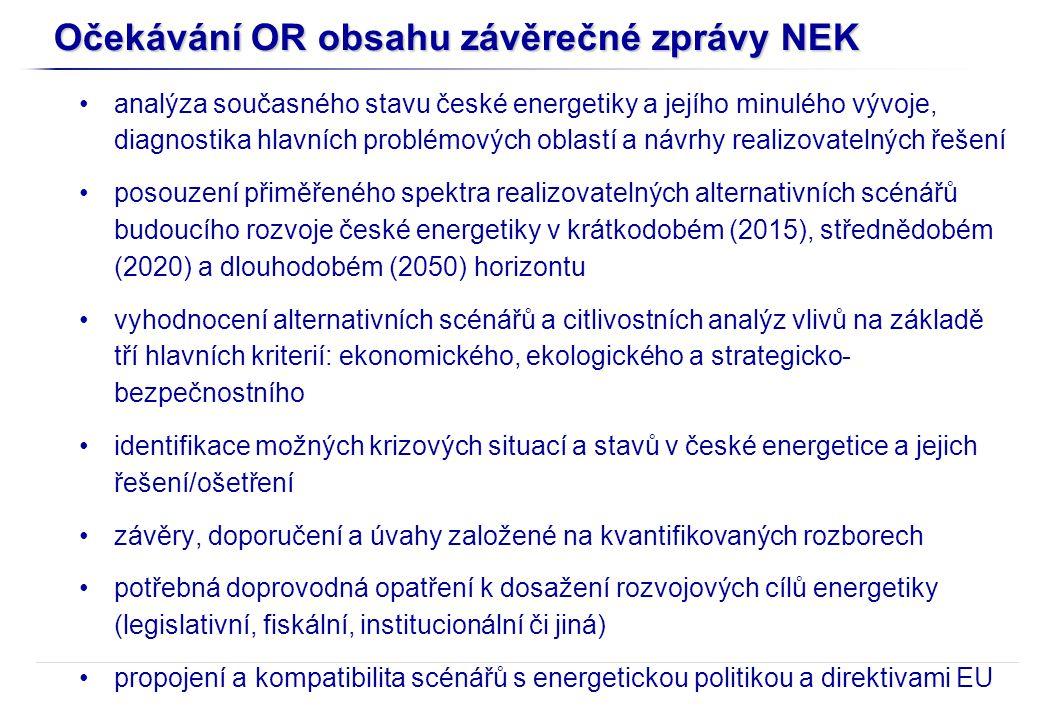 Očekávání OR obsahu závěrečné zprávy NEK analýza současného stavu české energetiky a jejího minulého vývoje, diagnostika hlavních problémových oblastí