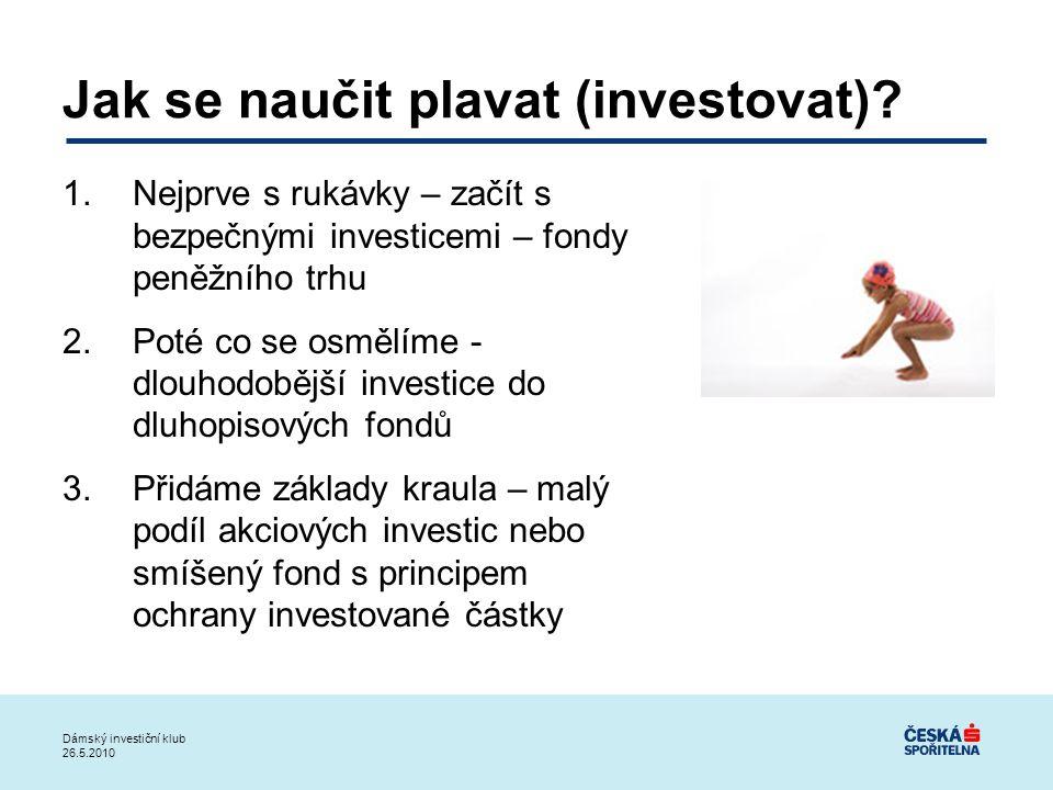 Jak se naučit plavat (investovat)? 1.Nejprve s rukávky – začít s bezpečnými investicemi – fondy peněžního trhu 2.Poté co se osmělíme - dlouhodobější i