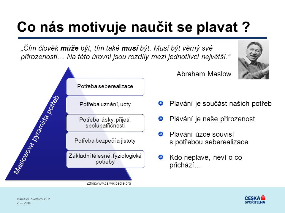 Dámský investiční klub 26.5.2010 Teorie Seberealizace …..