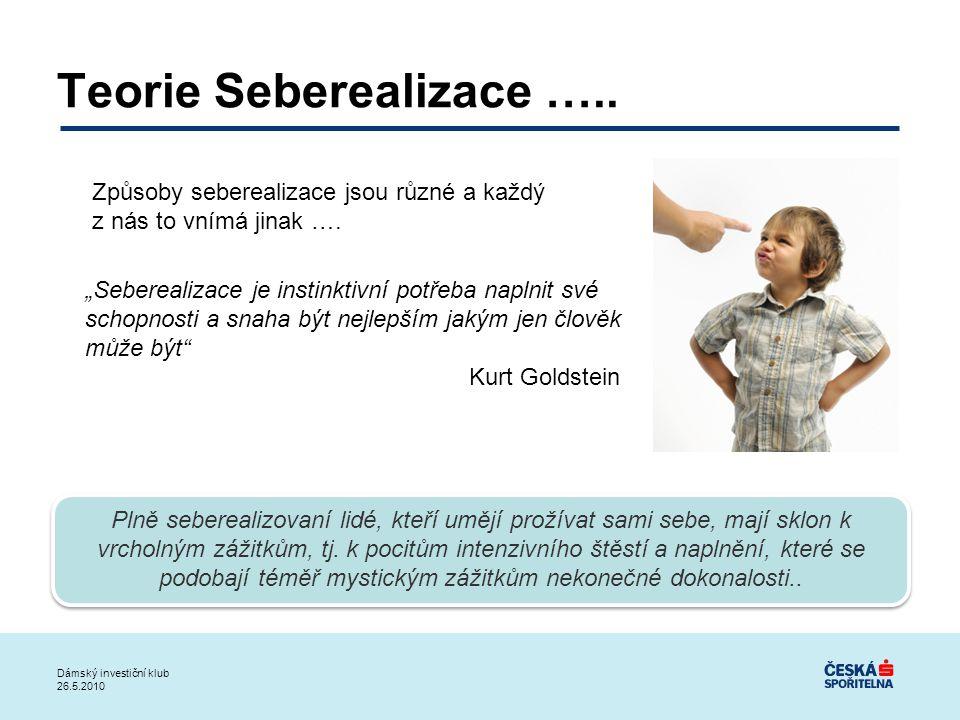"""Dámský investiční klub 26.5.2010 Teorie Seberealizace ….. """"Seberealizace je instinktivní potřeba naplnit své schopnosti a snaha být nejlepším jakým je"""