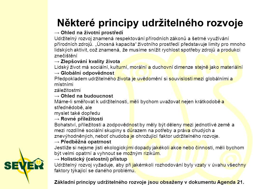 Některé principy udržitelného rozvoje → Ohled na životní prostředí Udržitelný rozvoj znamená respektování přírodních zákonů a šetrné využívání přírodních zdrojů.