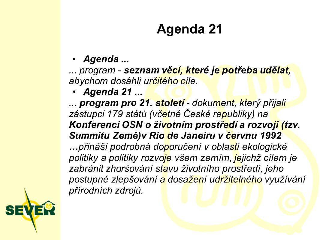 Agenda 21 Agenda...... program - seznam věcí, které je potřeba udělat, abychom dosáhli určitého cíle. Agenda 21...... program pro 21. století - dokume