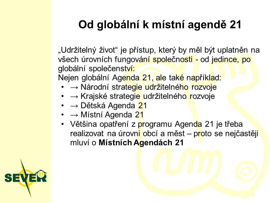 Místní Agenda 21 Místní agenda 21 je strategický a akční plán rozvoje místa… …ohleduplný k ekologickým, sociálním a kulturním hodnotám, … vycházející z místních hodnot a tradic, … podílející se na řešení globálních ohrožení … a probíhající za účasti těch, kdo v místě žijí.