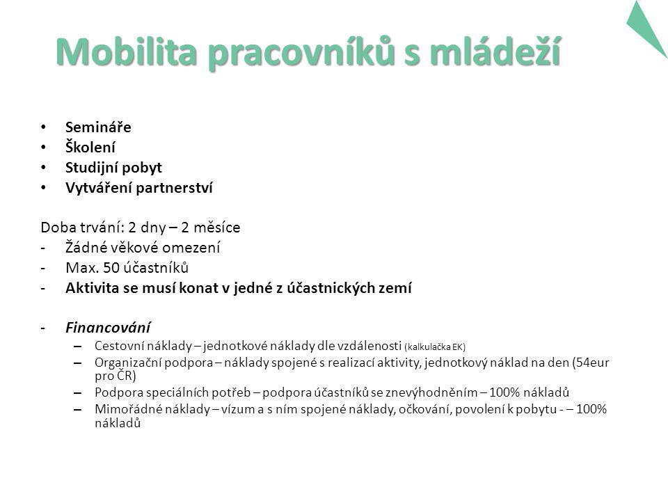 Mobilita pracovníků s mládeží Semináře Školení Studijní pobyt Vytváření partnerství Doba trvání: 2 dny – 2 měsíce -Žádné věkové omezení -Max. 50 účast