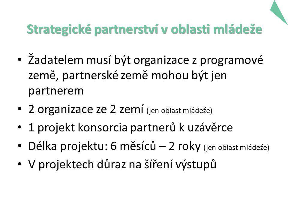 Strategické partnerství v oblasti mládeže Žadatelem musí být organizace z programové země, partnerské země mohou být jen partnerem 2 organizace ze 2 zemí (jen oblast mládeže) 1 projekt konsorcia partnerů k uzávěrce Délka projektu: 6 měsíců – 2 roky (jen oblast mládeže) V projektech důraz na šíření výstupů 17