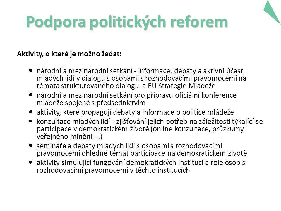 Podpora politických reforem Aktivity, o které je možno žádat: národní a mezinárodní setkání - informace, debaty a aktivní účast mladých lidí v dialogu s osobami s rozhodovacími pravomocemi na témata strukturovaného dialogu a EU Strategie Mládeže národní a mezinárodní setkání pro přípravu oficiální konference mládeže spojené s předsednictvím aktivity, které propagují debaty a informace o politice mládeže konzultace mladých lidí - zjišťování jejich potřeb na záležitosti týkající se participace v demokratickém životě (online konzultace, průzkumy veřejného mínění...) semináře a debaty mladých lidí s osobami s rozhodovacími pravomocemi ohledně témat participace na demokratickém životě aktivity simulující fungování demokratických institucí a role osob s rozhodovacími pravomocemi v těchto institucích 20