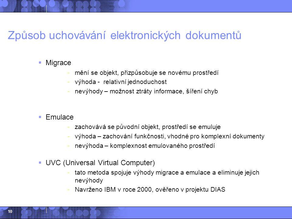 10 Způsob uchovávání elektronických dokumentů  Migrace -mění se objekt, přizpůsobuje se novému prostředí -výhoda - relativní jednoduchost -nevýhody –