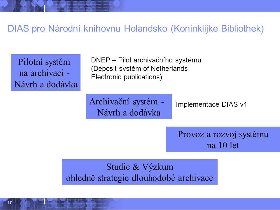 17 Archivační systém - Návrh a dodávka Provoz a rozvoj systému na 10 let Studie & Výzkum ohledně strategie dlouhodobé archivace Pilotní systém na arch