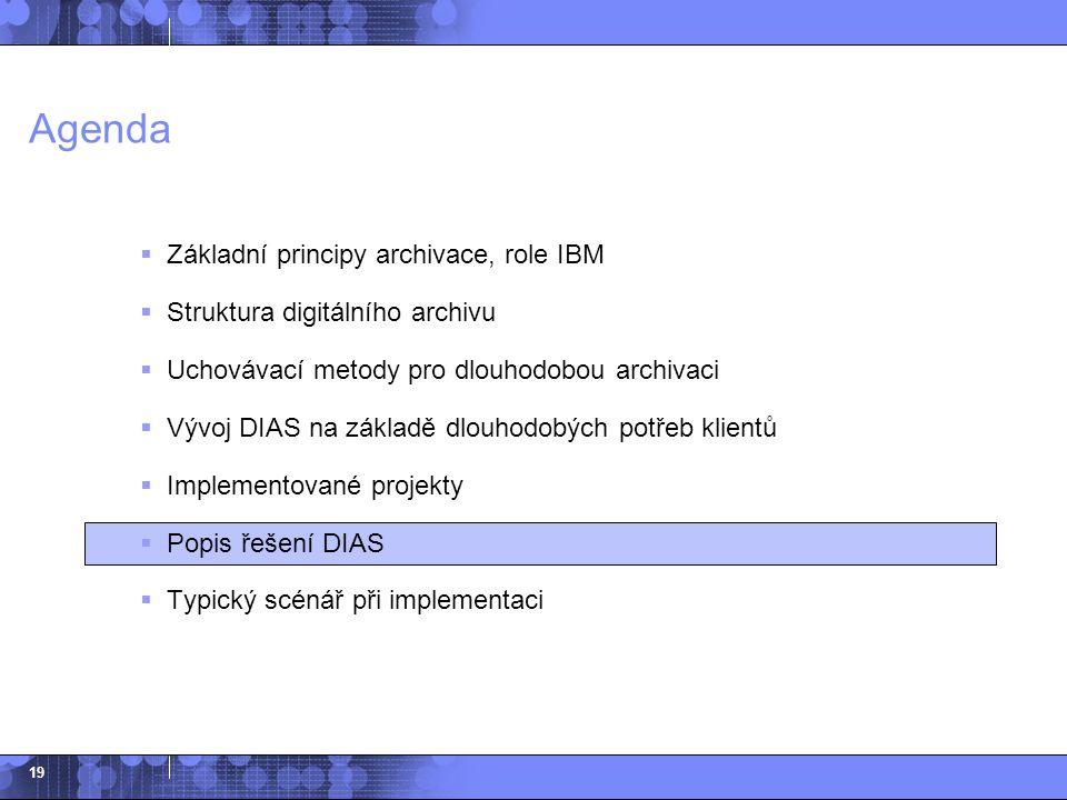 19 Agenda  Základní principy archivace, role IBM  Struktura digitálního archivu  Uchovávací metody pro dlouhodobou archivaci  Vývoj DIAS na základ