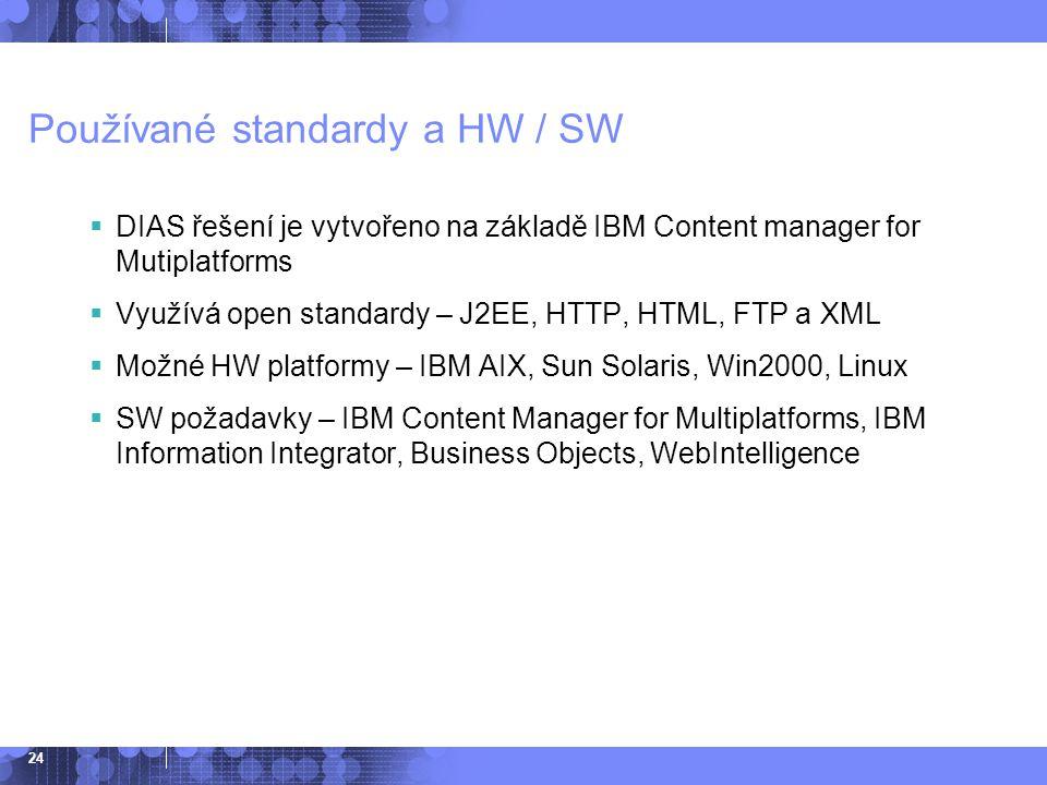 24 Používané standardy a HW / SW  DIAS řešení je vytvořeno na základě IBM Content manager for Mutiplatforms  Využívá open standardy – J2EE, HTTP, HT