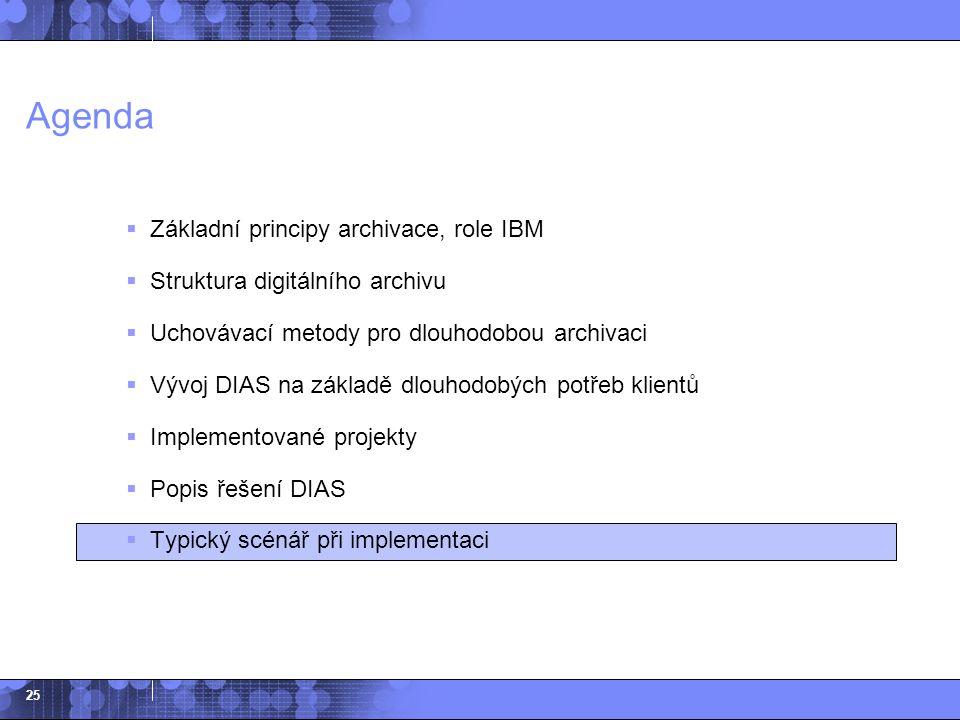 25 Agenda  Základní principy archivace, role IBM  Struktura digitálního archivu  Uchovávací metody pro dlouhodobou archivaci  Vývoj DIAS na základ