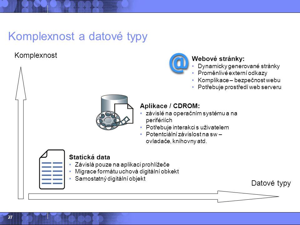 27 Komplexnost a datové typy Datové typy Komplexnost Statická data Závislá pouze na aplikaci prohlížeče Migrace formátu uchová digitální obkekt Samost