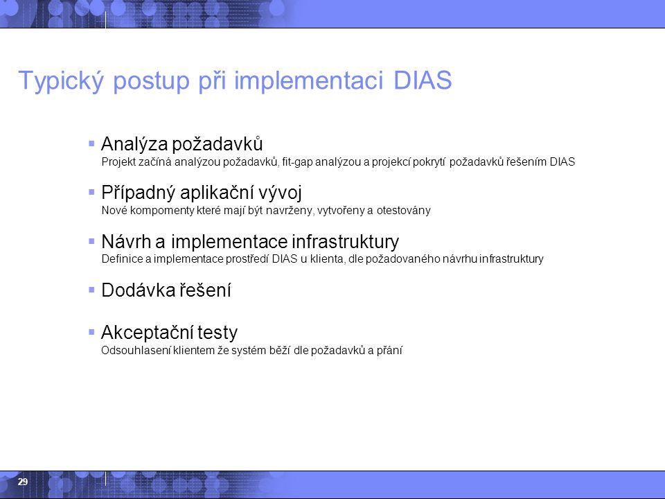 29 Typický postup při implementaci DIAS  Analýza požadavků Projekt začíná analýzou požadavků, fit-gap analýzou a projekcí pokrytí požadavků řešením D