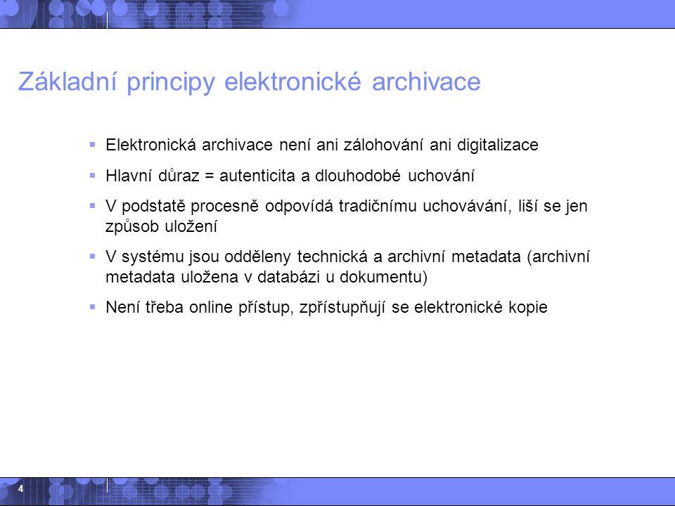 4 Základní principy elektronické archivace  Elektronická archivace není ani zálohování ani digitalizace  Hlavní důraz = autenticita a dlouhodobé uch