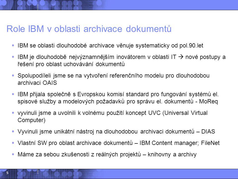 16 Agenda  Základní principy archivace, role IBM  Struktura digitálního archivu  Uchovávací metody pro dlouhodobou archivaci  Vývoj DIAS na základě dlouhodobých potřeb klientů  Implementované projekty  Popis řešení DIAS  Typický scénář při implementaci