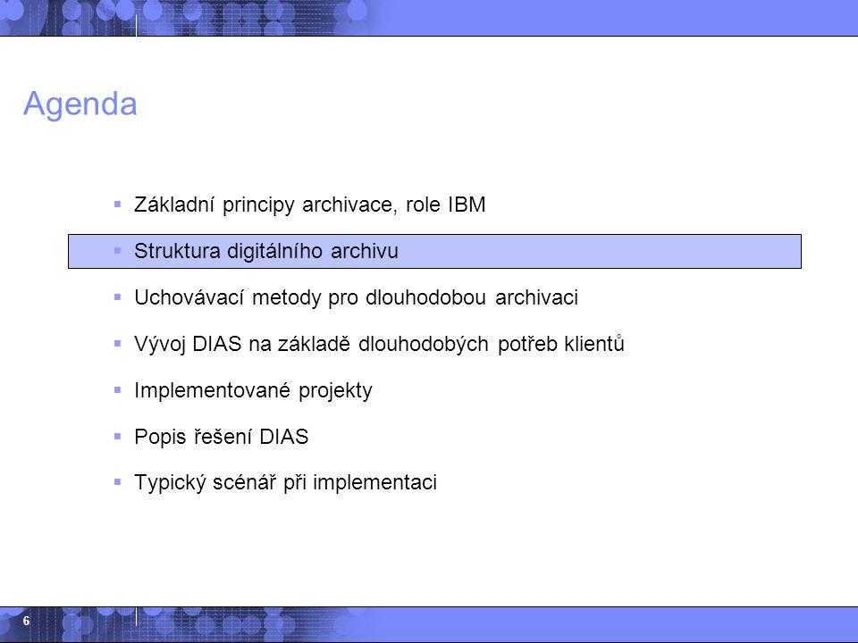 6 Agenda  Základní principy archivace, role IBM  Struktura digitálního archivu  Uchovávací metody pro dlouhodobou archivaci  Vývoj DIAS na základě