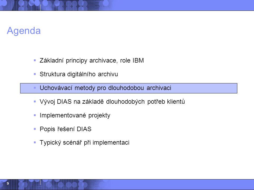 9 Agenda  Základní principy archivace, role IBM  Struktura digitálního archivu  Uchovávací metody pro dlouhodobou archivaci  Vývoj DIAS na základě