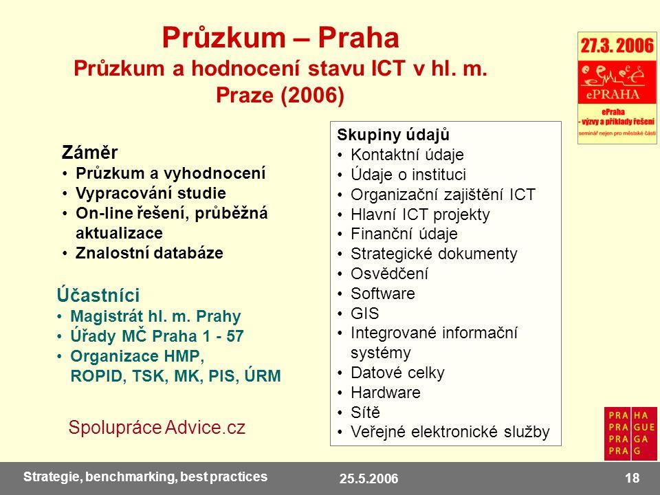 25.5.2006 18 Strategie, benchmarking, best practices Průzkum – Praha Průzkum a hodnocení stavu ICT v hl.