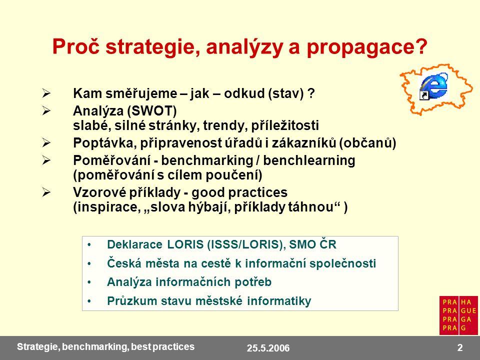 25.5.2006 13 Strategie, benchmarking, best practices Plány