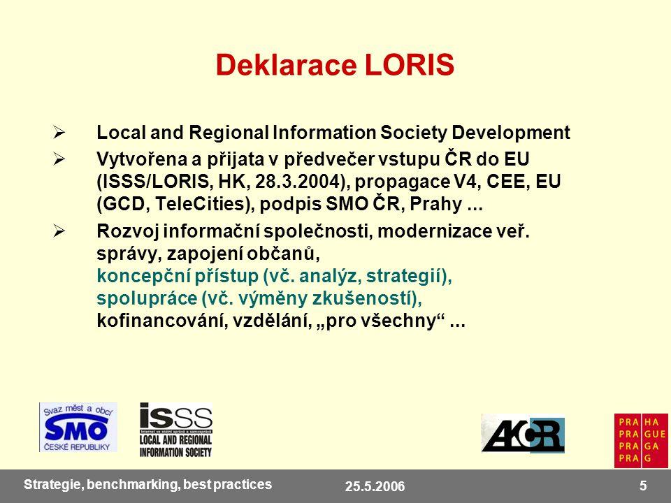 25.5.2006 5 Strategie, benchmarking, best practices Deklarace LORIS  Local and Regional Information Society Development  Vytvořena a přijata v předvečer vstupu ČR do EU (ISSS/LORIS, HK, 28.3.2004), propagace V4, CEE, EU (GCD, TeleCities), podpis SMO ČR, Prahy...