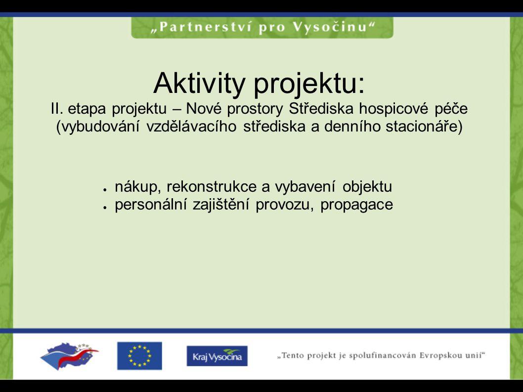 Aktivity projektu: II. etapa projektu – Nové prostory Střediska hospicové péče (vybudování vzdělávacího střediska a denního stacionáře) ● nákup, rekon