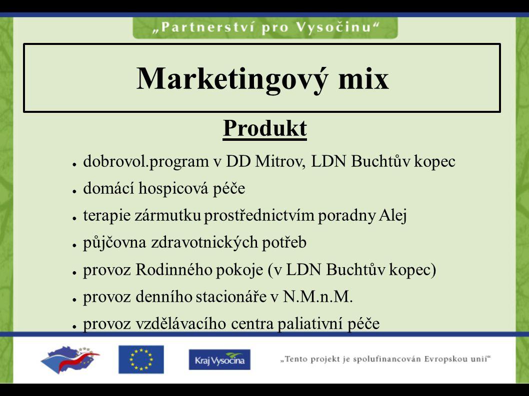 Marketingový mix Produkt ● dobrovol.program v DD Mitrov, LDN Buchtův kopec ● domácí hospicová péče ● terapie zármutku prostřednictvím poradny Alej ● p