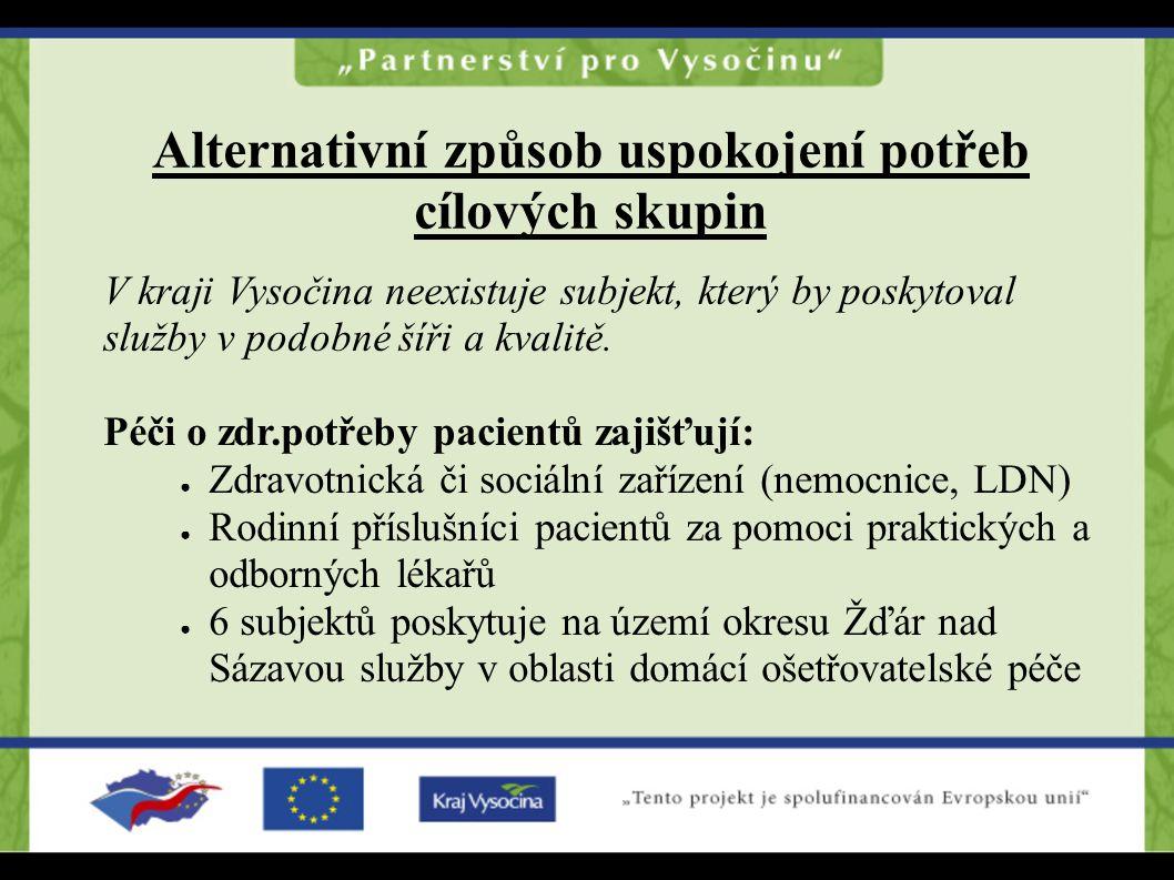 Alternativní způsob uspokojení potřeb cílových skupin V kraji Vysočina neexistuje subjekt, který by poskytoval služby v podobné šíři a kvalitě. Péči o