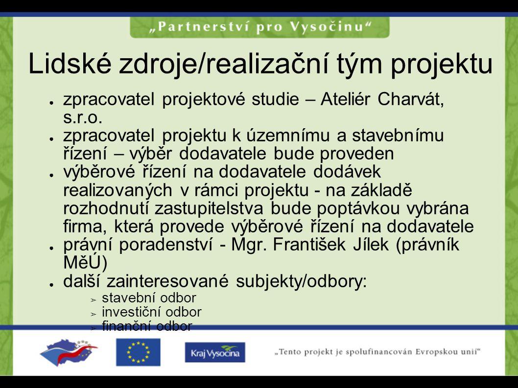Lidské zdroje/realizační tým projektu ● zpracovatel projektové studie – Ateliér Charvát, s.r.o. ● zpracovatel projektu k územnímu a stavebnímu řízení