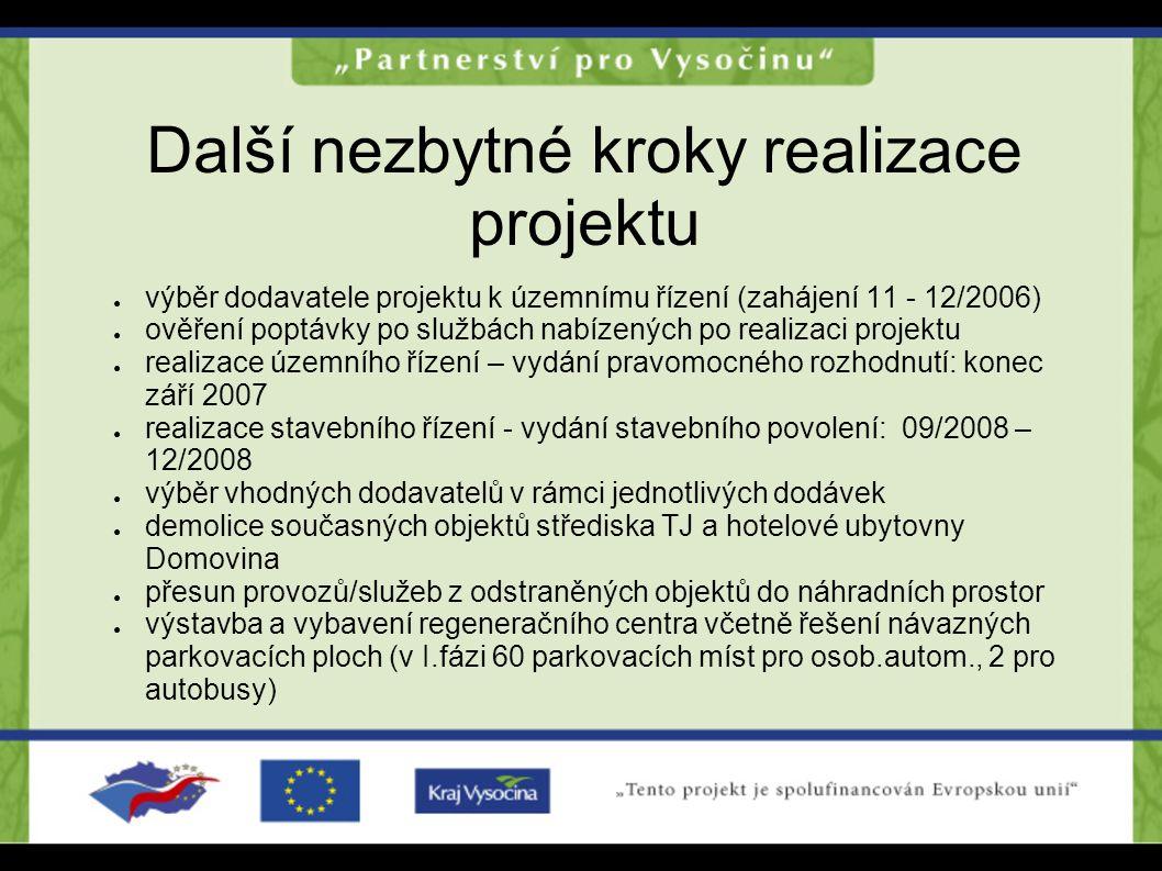 Další nezbytné kroky realizace projektu ● výběr dodavatele projektu k územnímu řízení (zahájení 11 - 12/2006) ● ověření poptávky po službách nabízenýc