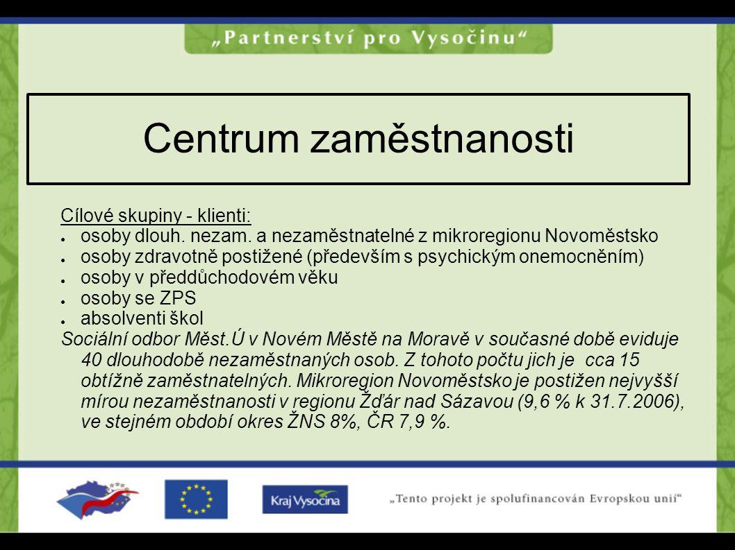 Centrum zaměstnanosti Cílové skupiny - klienti: ● osoby dlouh. nezam. a nezaměstnatelné z mikroregionu Novoměstsko ● osoby zdravotně postižené (předev