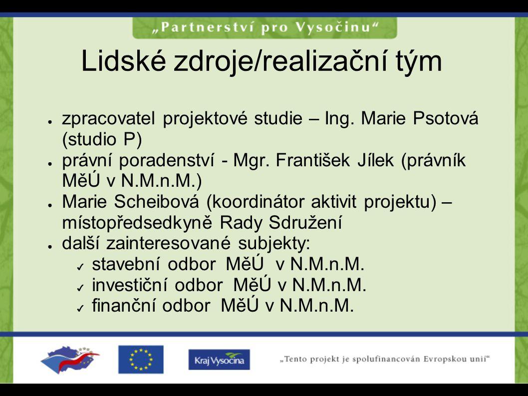 Lidské zdroje/realizační tým ● zpracovatel projektové studie – Ing. Marie Psotová (studio P) ● právní poradenství - Mgr. František Jílek (právník MěÚ