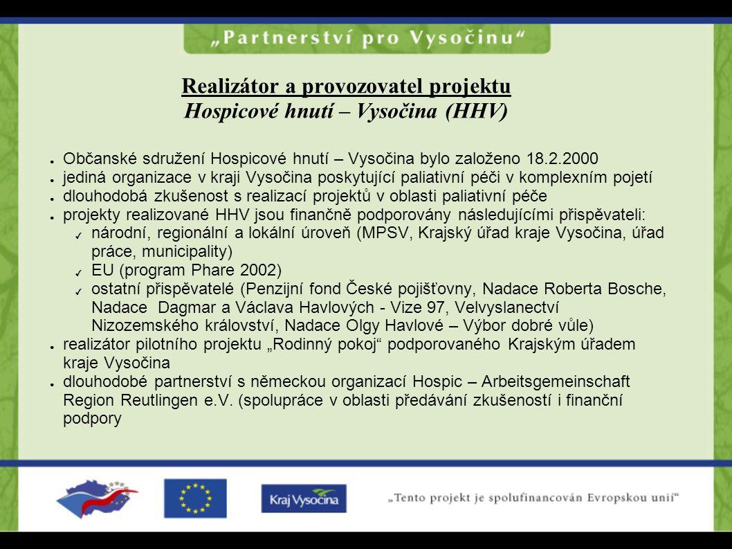 ● Občanské sdružení Hospicové hnutí – Vysočina bylo založeno 18.2.2000 ● jediná organizace v kraji Vysočina poskytující paliativní péči v komplexním p