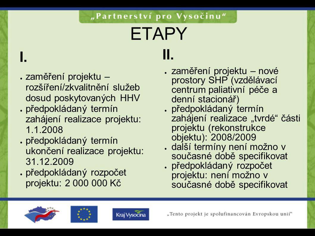ETAPY ● zaměření projektu – rozšíření/zkvalitnění služeb dosud poskytovaných HHV ● předpokládaný termín zahájení realizace projektu: 1.1.2008 ● předpo