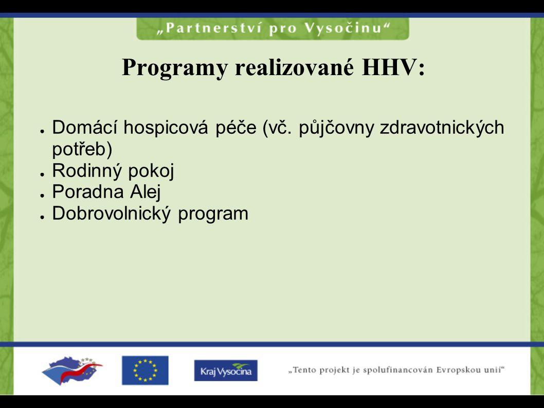 Programy realizované HHV: ● Domácí hospicová péče (vč. půjčovny zdravotnických potřeb) ● Rodinný pokoj ● Poradna Alej ● Dobrovolnický program