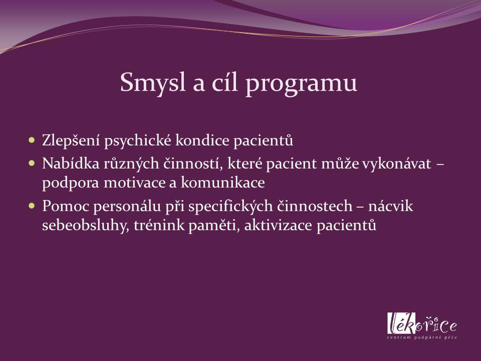 Smysl a cíl programu Zlepšení psychické kondice pacientů Nabídka různých činností, které pacient může vykonávat – podpora motivace a komunikace Pomoc