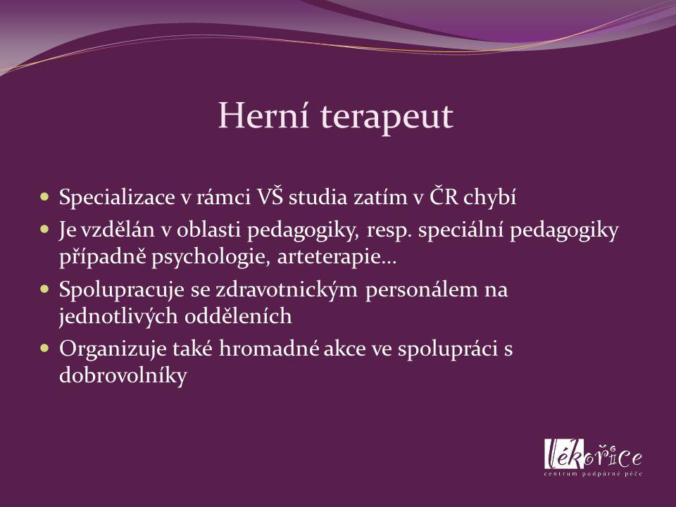 Herní terapeut Specializace v rámci VŠ studia zatím v ČR chybí Je vzdělán v oblasti pedagogiky, resp. speciální pedagogiky případně psychologie, artet